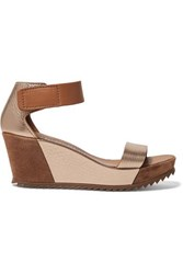 Pedro Garcia Fidelia Metallic Textured Leather And Suede Wedge Sandals Gold