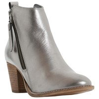 Dune Pontoon Stacked Heel Ankle Boots Pewter