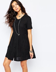 Reclaimed Vintage Button Front Tea Dress With Embroidery Black