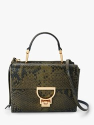 Coccinelle Artellis Iconic Leather Grab Bag Reptile Green
