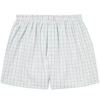 Sunspel Checked Cotton Boxer Shorts Blue