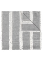 Eleventy Glitter Striped Scarf Women Polyamide Polyester Modal Viscose One Size Grey