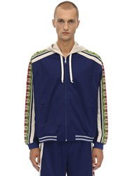 Gucci Logo Tape Hooded Cotton Blend Bomber Blue