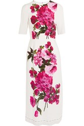 Dolce And Gabbana Floral Print Crepe Dress White