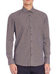 Sand Printed Cotton Sportshirt Brown