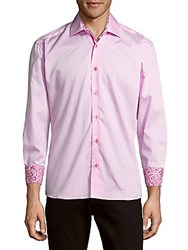 Bertigo Dobby Cotton Casual Button Down Shirt Pink
