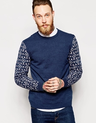 Asos Jumper With Aztec Design On Arms Navytwist