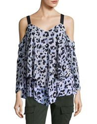 Ellen Tracy Petite Leopard Print Cold Shoulder Blouse Multi