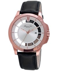 Kenneth Cole New York Men's Black Leather Strap Watch 45Mm 10027460 Rose Gold