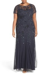 Adrianna Papell Plus Size Women's Floral Beaded Godet Gown Twilight
