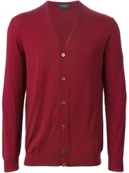 Zanone Buttoned Cardigan Red