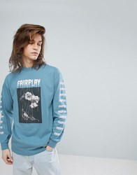 Fairplay Long Sleeve T Shirt With Rose Back Print In Blue Blue