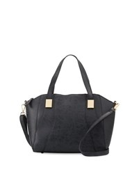 Neiman Marcus Adele Grained Satchel Bag Black