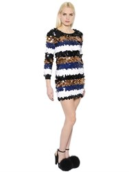 Sonia Rykiel Sequined Stripes Wool Knit Dress