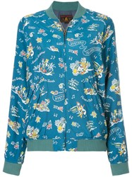 Hysteric Glamour Printed Bomber Jacket Cupro Rayon Blue