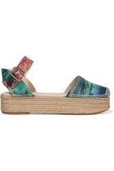 Carven Printed Leather Espadrille Platform Sandals Green