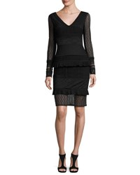 Talbot Runhof Mollie Tiered Mixed Lace Cocktail Dress Black