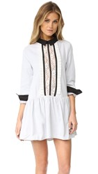 English Factory Lace Front Shirtdress Grey Stripe