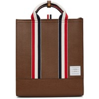 Thom Browne Brown Lined Leather Tote