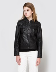 Just Female Cam Leather Jacket In Black