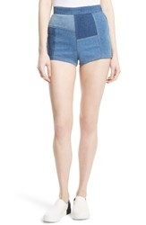 Free People Women's High And Tight Patchwork Denim Shorts
