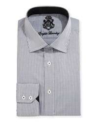 English Laundry Mini Check Cotton Dress Shirt Black