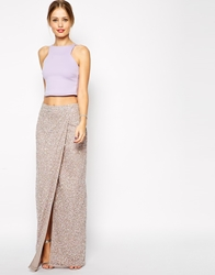 Asos Maxi Skirt In Sequins With Wrap Front Grey