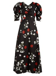 Isa Arfen Wow Obliterated Blossom Print Ruched Cotton Dress Black