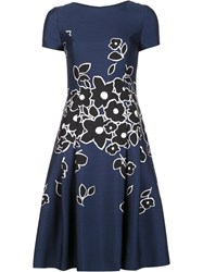 Carolina Herrera Floral Short Sleeved Dress Blue