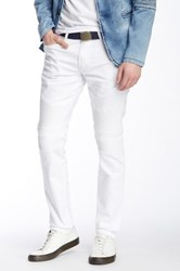 Ron Tomson Quilted Faux Leather Moto Inspired Skinny Jean White