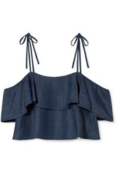Rachel Zoe Angie Cold Shoulder Ruffled Chambray Top Blue