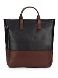 Cole Haan Two Tone Leather Tote Bag Black