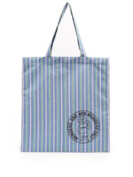 Stella Mccartney Members Print Striped Cotton Canvas Tote Blue Multi