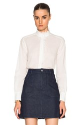 See By Chloe Ruffle Button Up Top In White