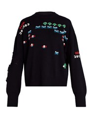 Barrie Star Games Cashmere Crew Neck Sweater Navy Multi