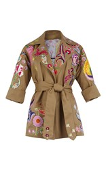 Temperley London Hermia Embroidered Coat Tan
