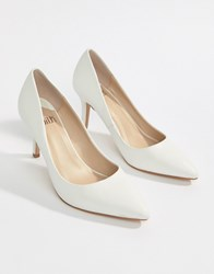 Faith Chariot Heeled Court Shoes In White