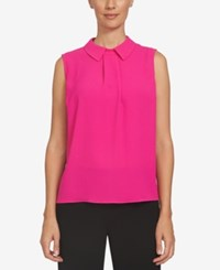 Cece Pleated Collared Shell Hot Magenta