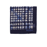 Roda Checked Pocket Square Navy