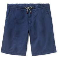 Brunello Cucinelli Linen And Cotton Blend Drawstring Shorts Blue