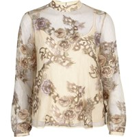 River Island Womens Cream Floral Embroidered Lace High Neck Top