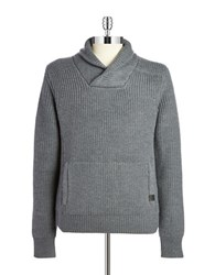 Victorinox Wool Shawl Collared Sweater Grey