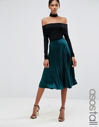 Asos Tall Pleated Velvet Midi Skirt Jewel Green