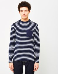 The Idle Man Breton Stripe Long Sleeve T Shirt Navy