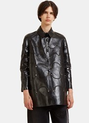 Valentino Scallop Corded Studded Leather Jacket Black