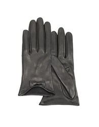 Forzieri Leather Gloves With Bow Black