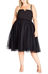 City Chic Plus Size Power Princess Fit And Flare Dress Black
