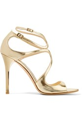 Jimmy Choo Lang 100 Metallic Leather Sandals Gold