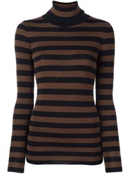 Laneus Striped Turtleneck Jumper Brown