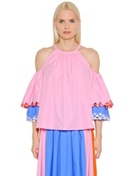 Peter Pilotto Open Shoulders Embroidered Poplin Top